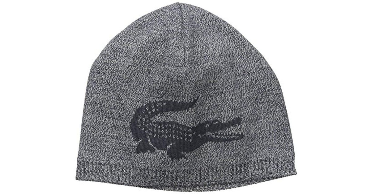 aecf3acb6f5 Lyst - Lacoste Large Contrast Croc Jacquard Wool Beanie in Blue for Men -  Save 16.66666666666667%