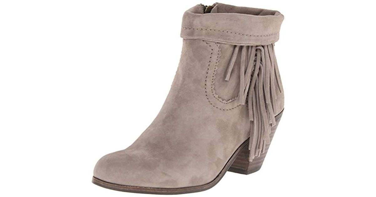 e622cc66928c8 Lyst - Sam Edelman Louie Fringe-trimmed Ankle Boot in Brown