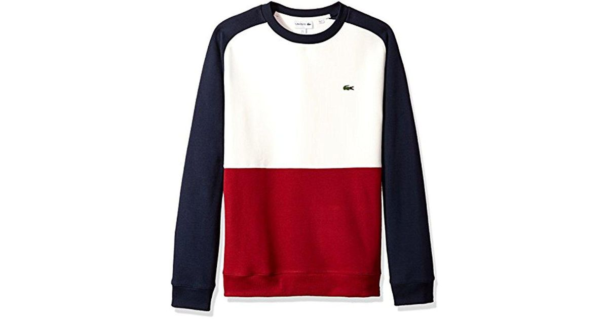 Sweatshirt Fleece Red Lyst Brushed Pique Lacoste In Block Color awOqz