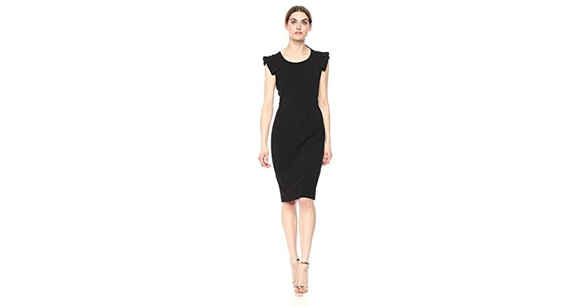 Lyst Calvin Klein Solid Sheath With Folded Cap Sleeve Dress In