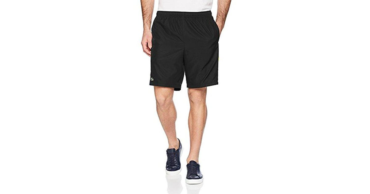 1191ebd48241d Lyst - Lacoste Tennis Diamond Weave Taffeta Short With Color Band At Side in  Black for Men