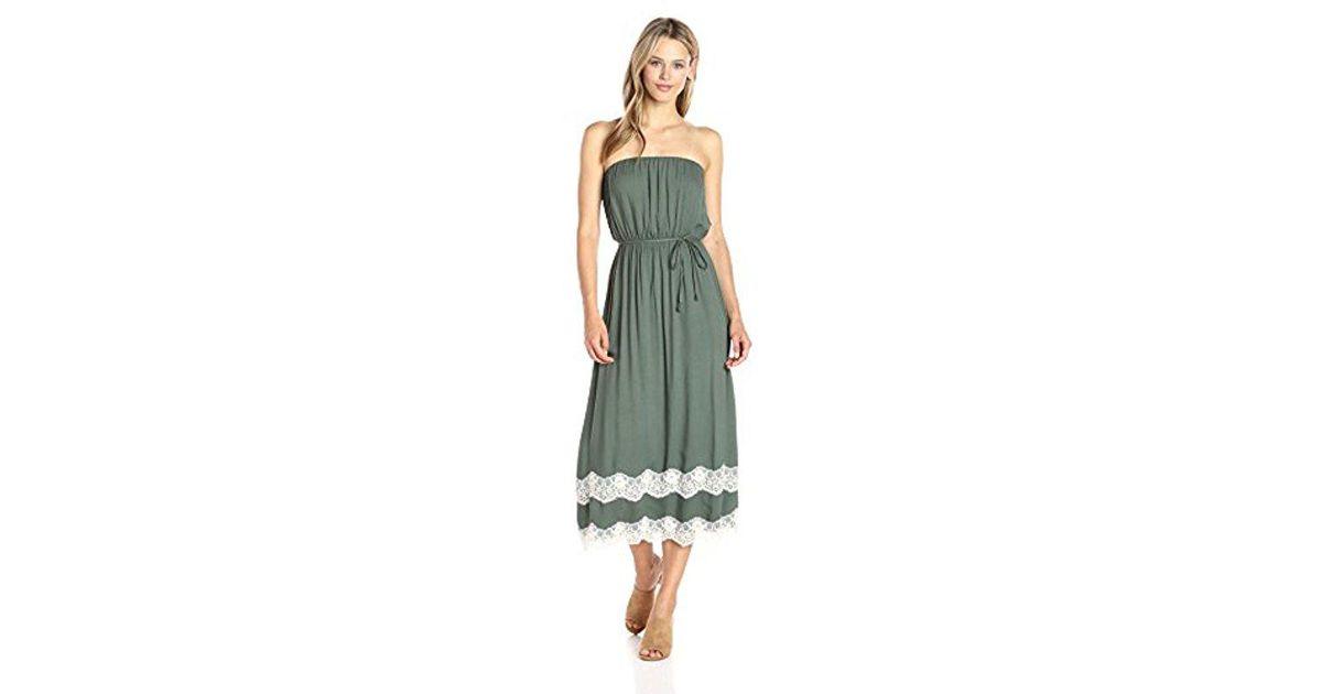 Lyst - Ella Moss Trinity Lace Strapless Dress in Green