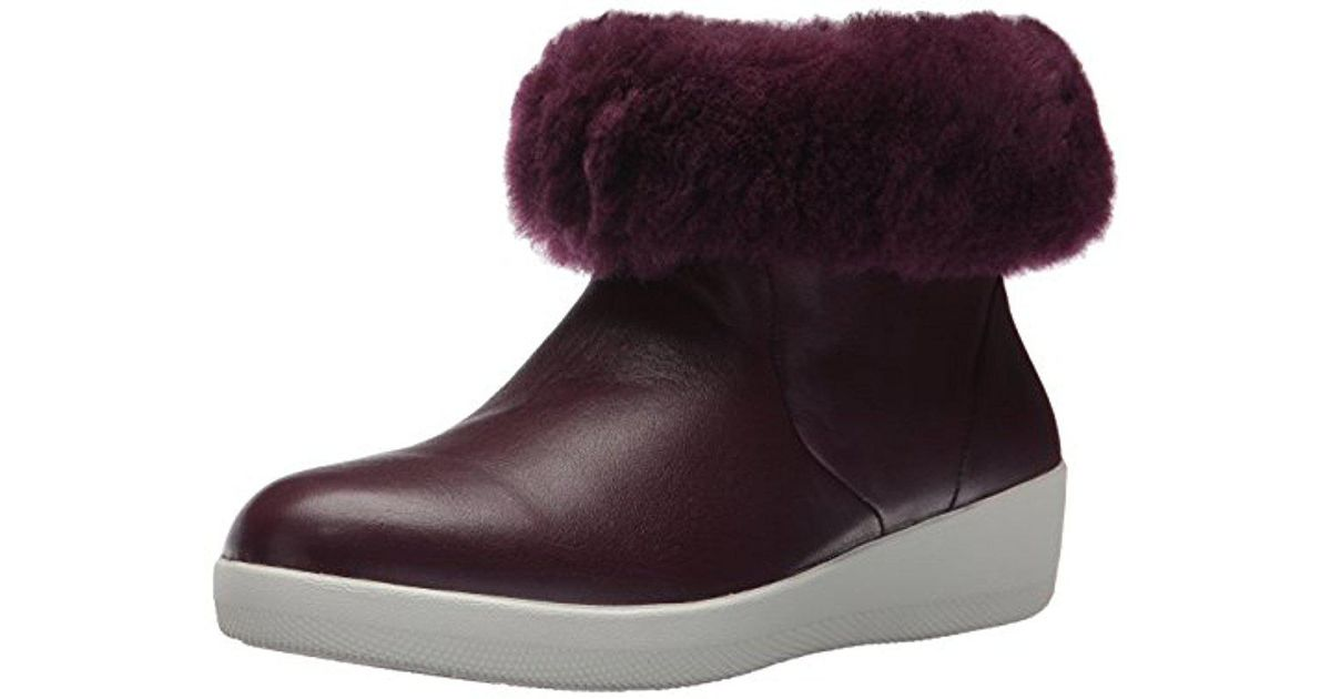 fcfc1e692553 Lyst - Fitflop Skatebootie Leather Boots With Shearling Ankle in Purple -  Save 48%