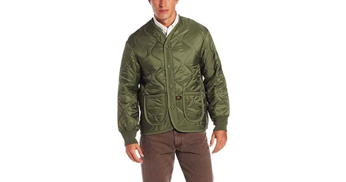 6e48703f11750 Alpha Industries Als/92 Mid Length Zip Liner Jacket With Pockets in Green  for Men - Save 55% - Lyst