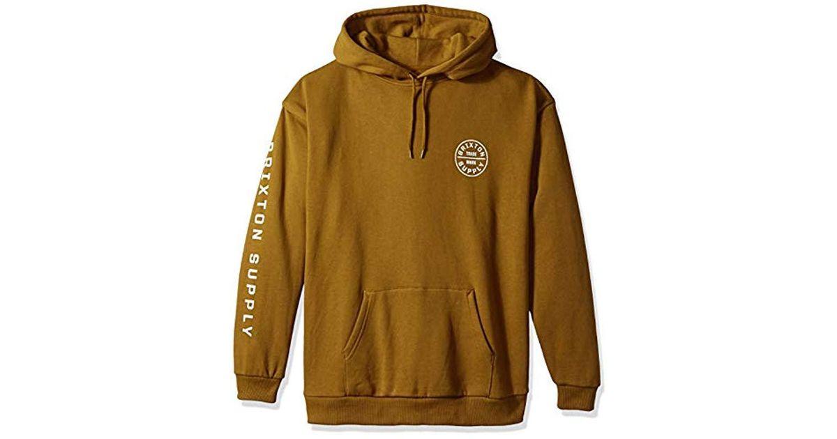 3efebc92ab Brixton Brown Oath Ii Relaxed Standard Fit Hood Fleece Sweatshirt for men