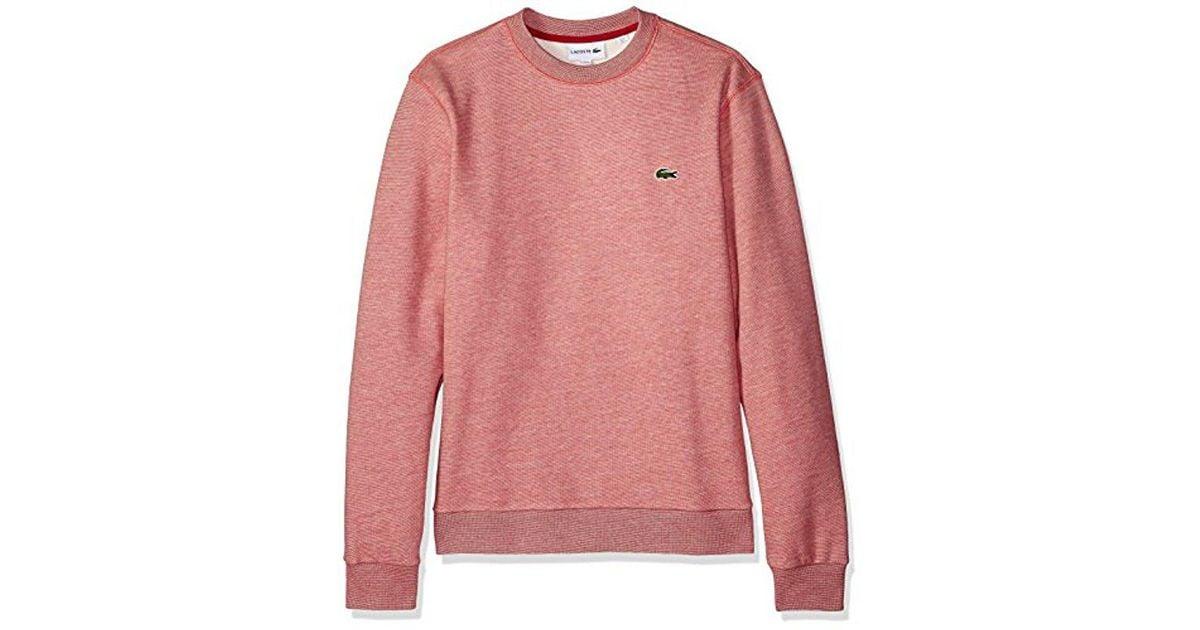8a60a4a22505 Lyst - Lacoste Long Sleeve Mille-raye Crew Neck Sweatshirt