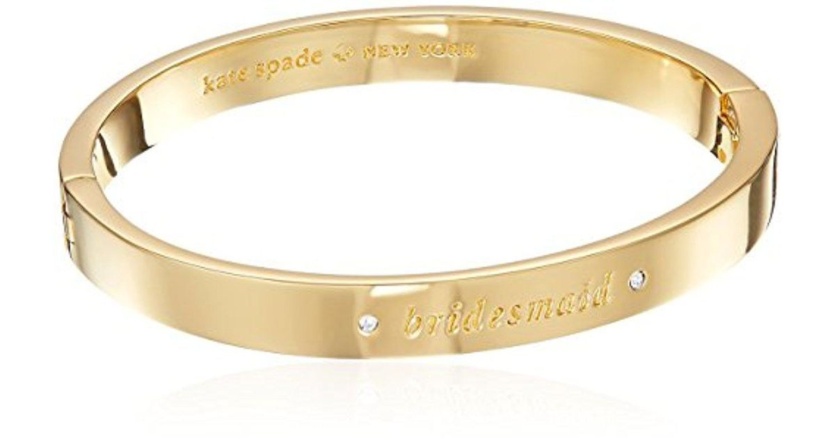 Lyst Kate Spade Pave Bridesmaid Bangle Her Day To Shine Clear Gold Bracelet In Metallic