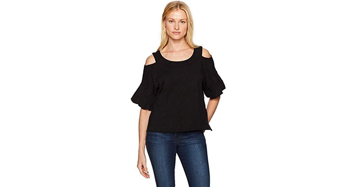 961020d8adfce1 Lyst - Wilt Boxy Cold Shoulder Bubble Sleeve Top in Black - Save 22%