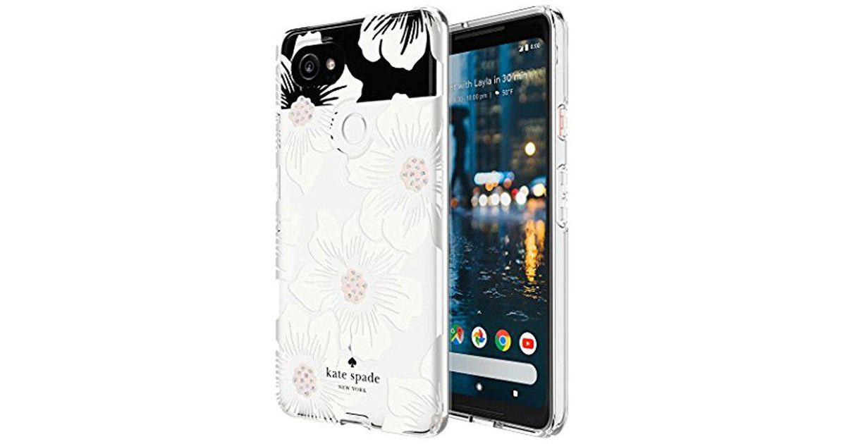 f4ee3ee5e Kate Spade Flexible Hardshell Case For Google Pixel 2 Xl - Multi Hollyhock  Floral Clear / Cream With Stones - Lyst