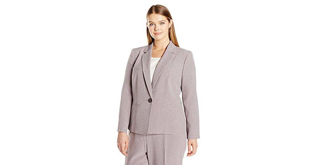 ffd8788611 Lyst - Kasper Plus Size 1 Button Twill Notch Collar Jacket in Purple