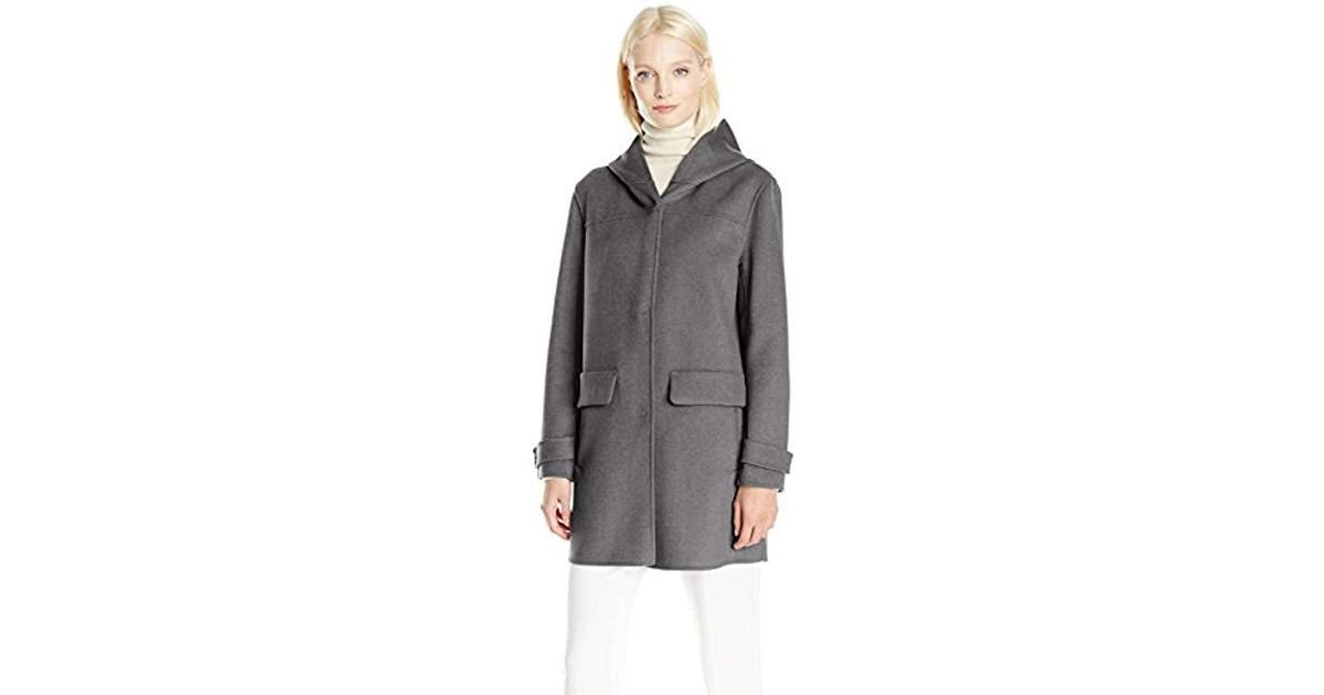 8b20294c4d8 Lyst - Jones New York Double Face Hooded Coat W/snap Front Closure And  Pockets in Gray