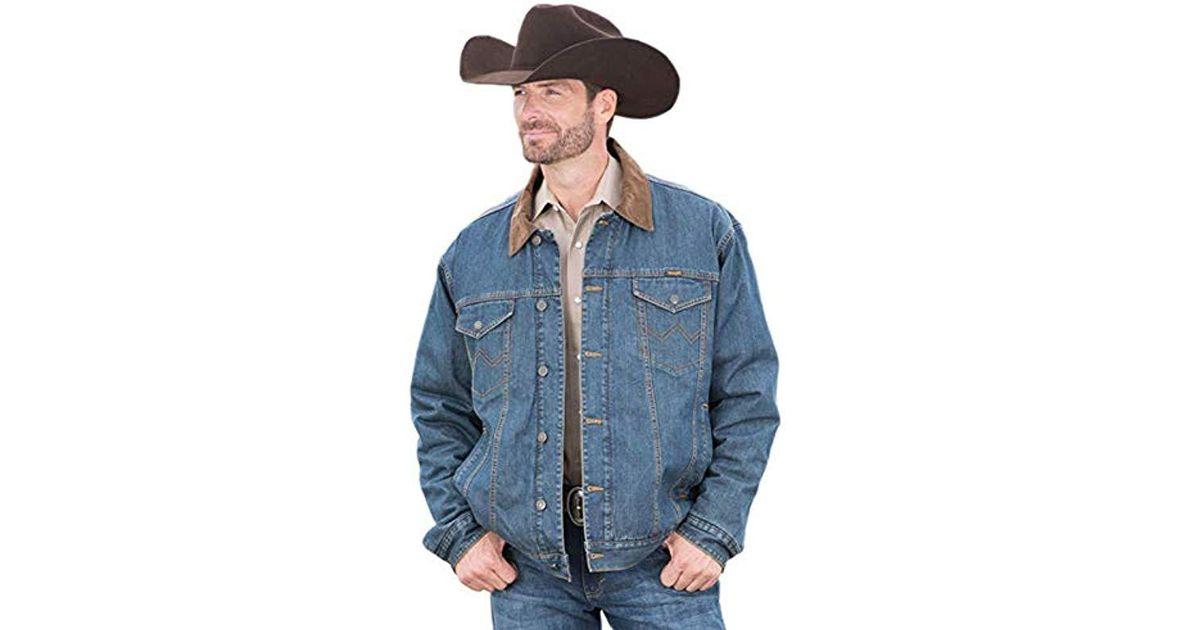 251cba7d6b Lyst - Wrangler Western Concealed Carry Blanket Lined Denim Jacket in Blue  for Men