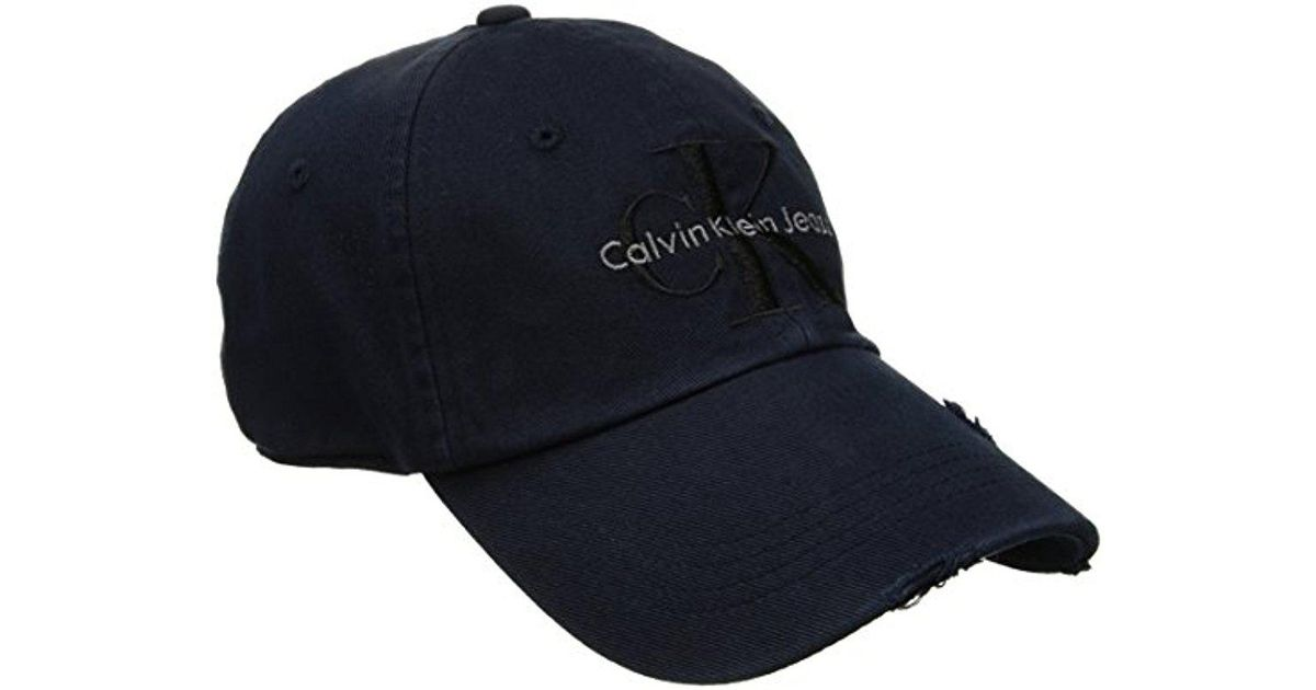 3d84e0737c9 Lyst - CALVIN KLEIN 205W39NYC Jeans Reissue Logo Destructed Wash Denim Hat  in Blue for Men