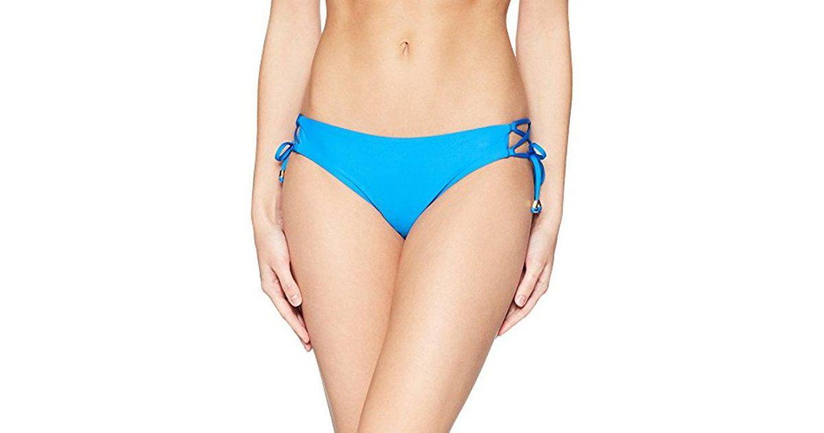 ecca4f9c17 Lyst - Ella Moss Juliet Solids Lace Up Mid-rise Bikini Bottom in Blue -  Save 30%
