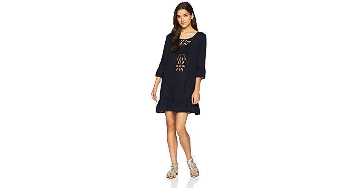 2a0cfaea349a0 Roxy Goldy Soul Long Sleeve Coverup Dress in Black - Lyst
