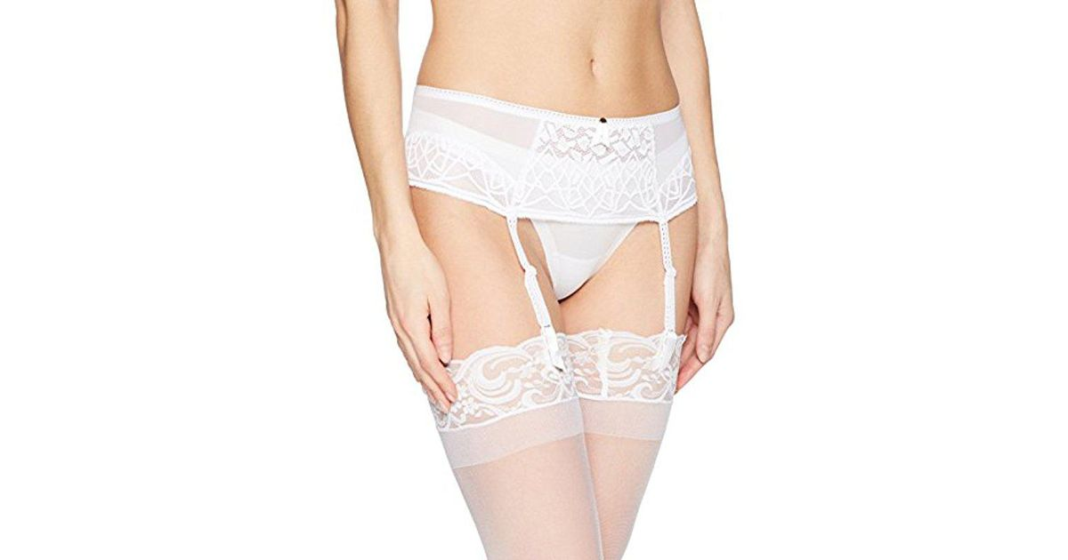9bb354a265b1ea Lyst - Freya Soiree Lace Suspender in White - Save 18%