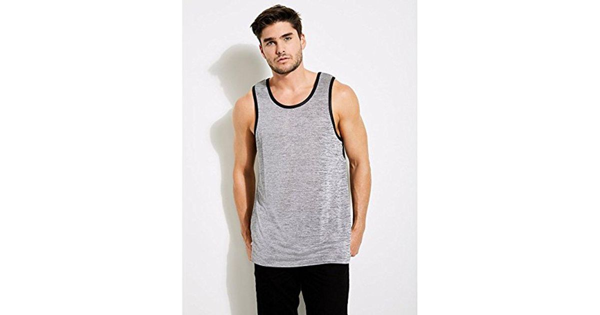 f0bec27899ab4 Lyst - Guess Sleeveless Shiny Long Line Step Hem Tank in Gray for Men