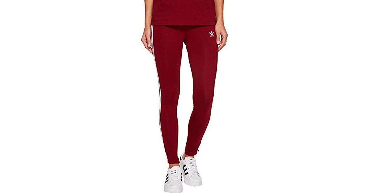 3e5abad5bc6 adidas Originals 3 Str Tight Collegiate Burgundy Ce2442 Leggings in Red -  Lyst