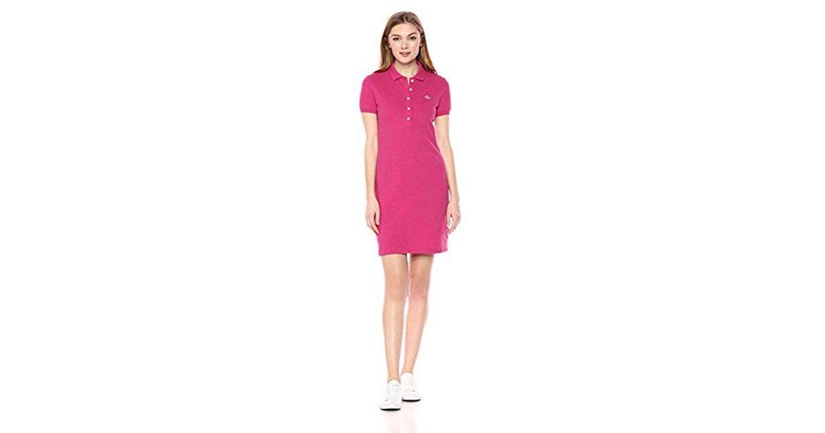 147e03c1e Lyst - Lacoste Stretch Cotton Short Sleeve Mini Piqué Polo Dress in Pink