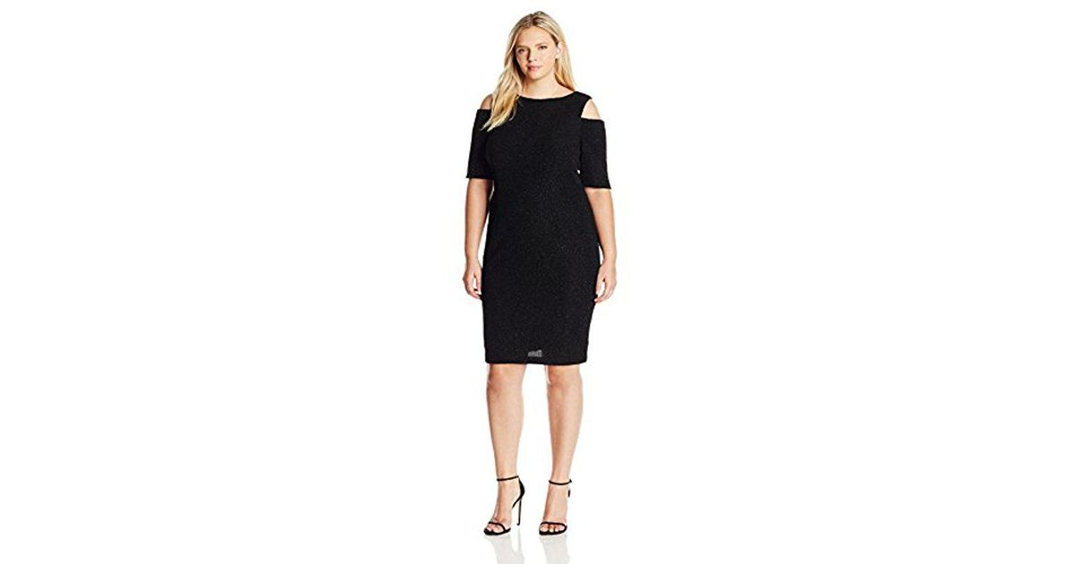 Lyst - Eliza J Plus Size Glitter Dress With Cold Shoulders in Black