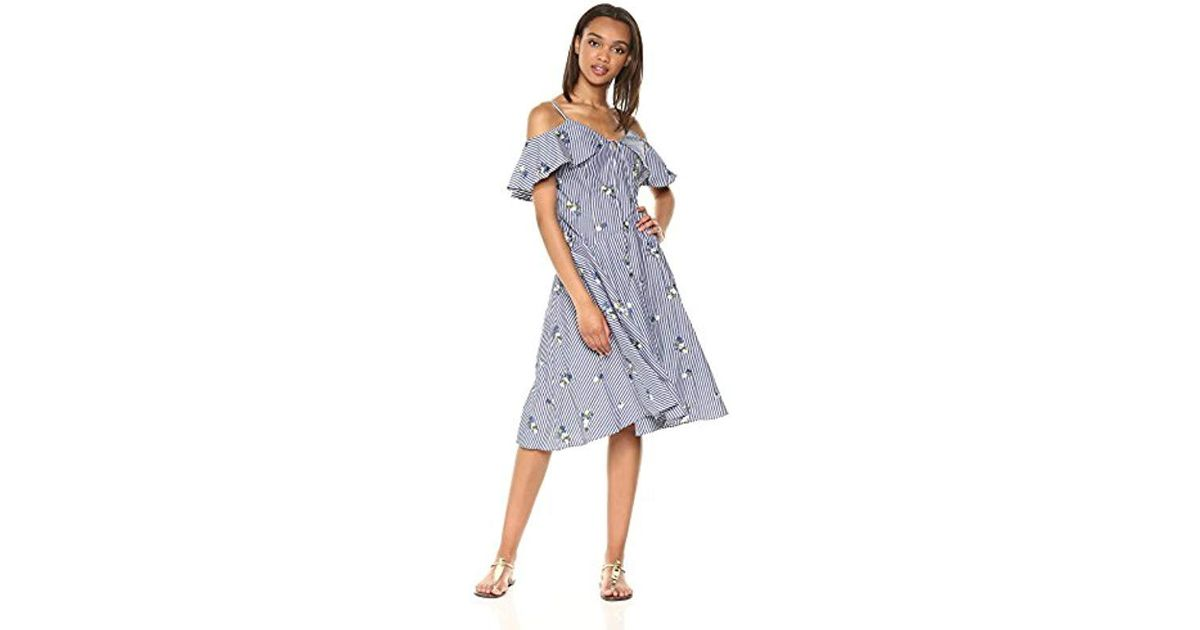 fb4ee3d136a Lyst - Calvin Klein Cold Shoulder Floral Embroidered Striped A Line Dress  in Blue - Save 44%