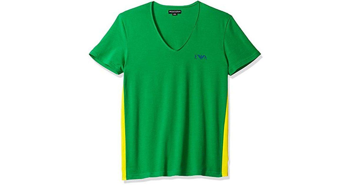 0efd20dd099 Lyst - Emporio Armani Stretch Cotton Colorblock V-neck T-shirt in Green for  Men