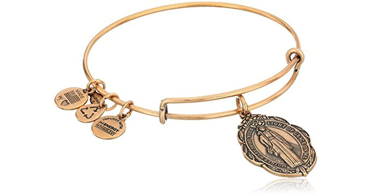 Lyst Alex And Ani Rafaelian Mother Mary Expandable Wire Bangle Bracelet In Metallic