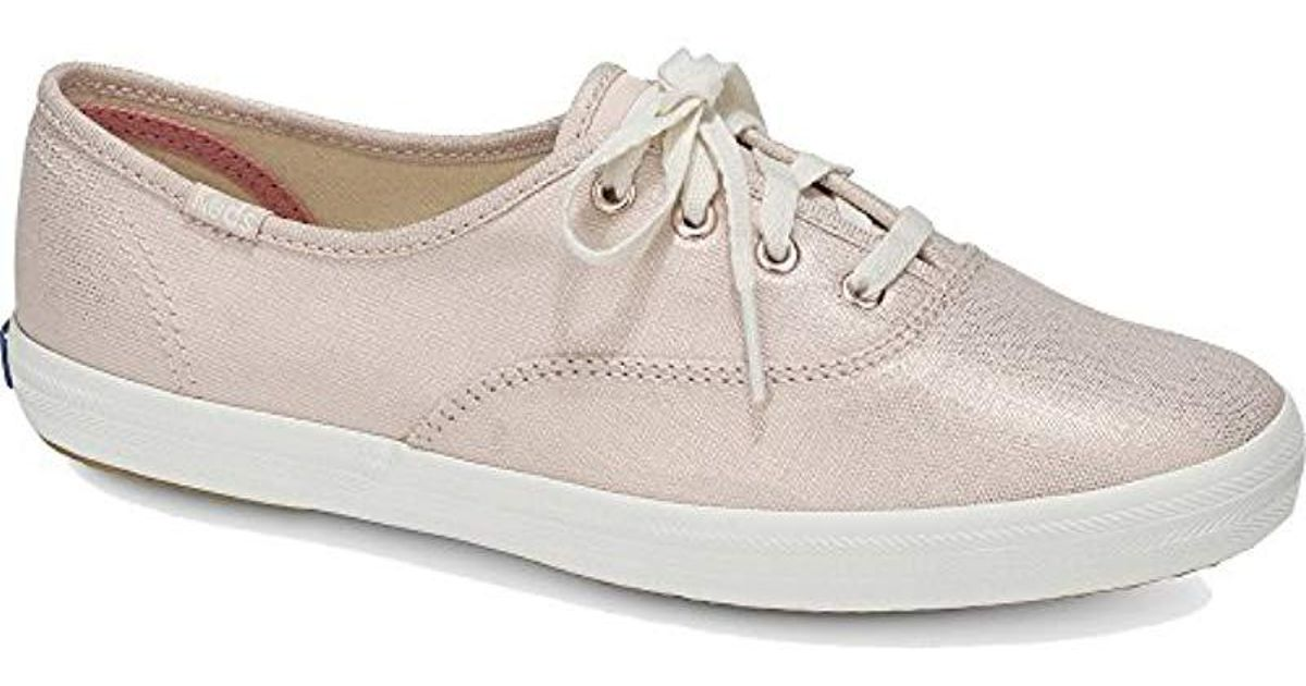 5665f9111461d Lyst - Keds Champion Metallic Linen Sneaker in Pink - Save 6%