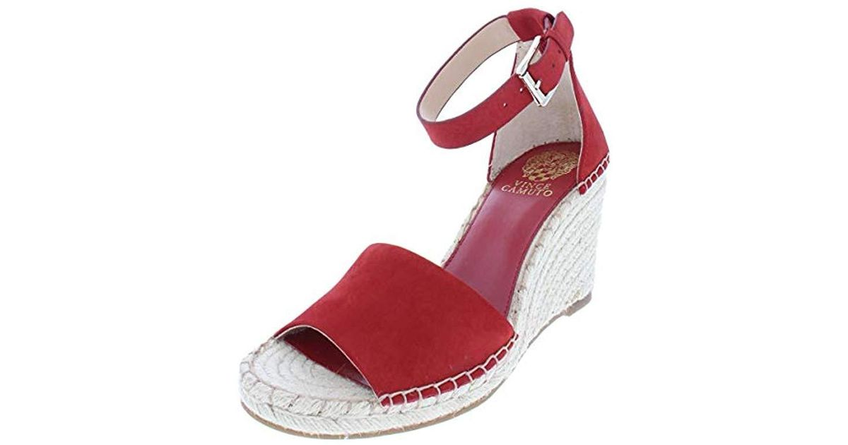 7e08478a7c Vince Camuto Leera Espadrille Wedge Sandal in Red - Lyst