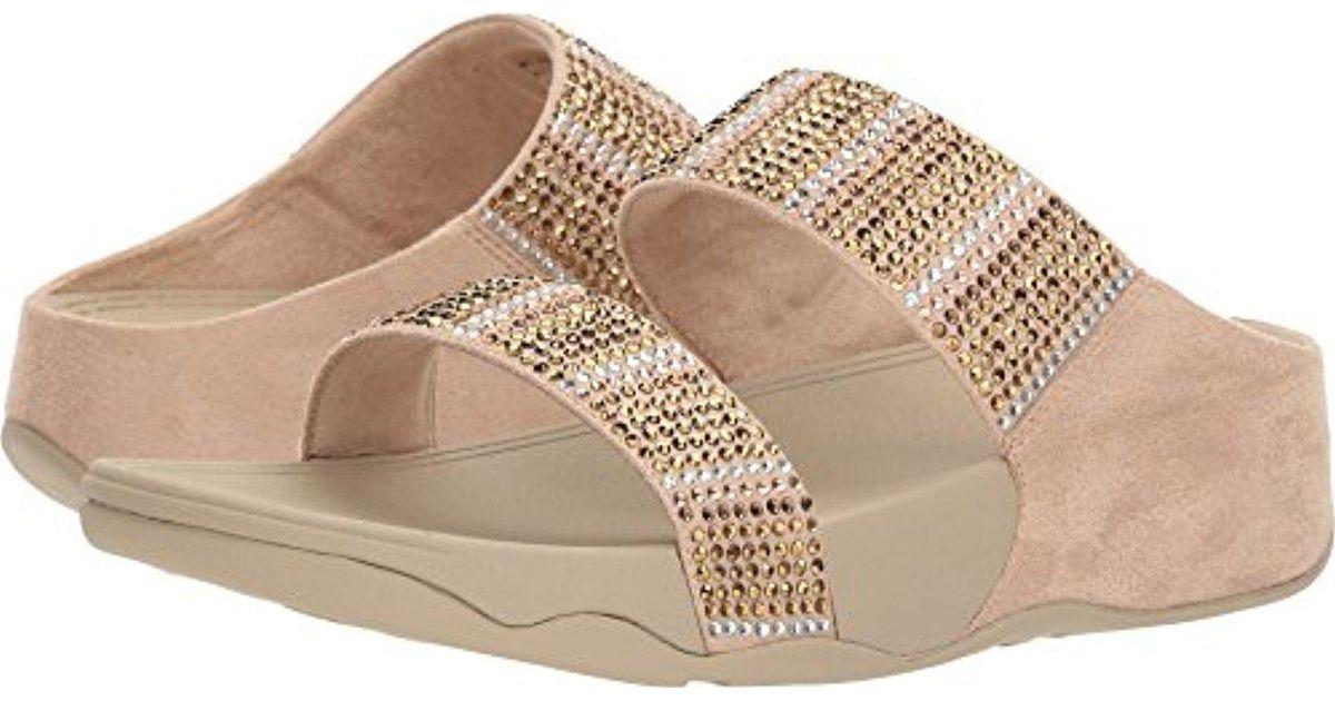 612b4ecfff2d18 Lyst - Fitflop Flare Slide Sandals in Metallic - Save 53%