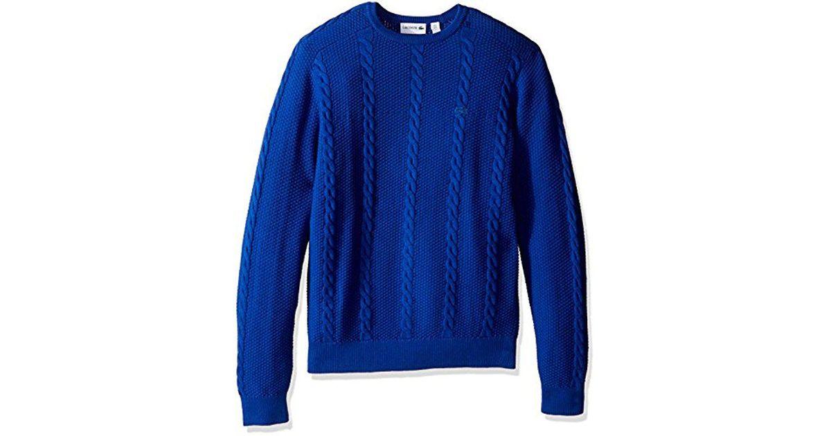 21ba5406d0429 Lyst - Lacoste Long Sleeve Resort Cotton Cable Crewneck