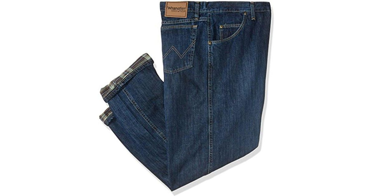 611dc27a Lyst - Wrangler Tall Rugged Wear Big Relaxed Fit Flannel Lined Jean in Blue  for Men