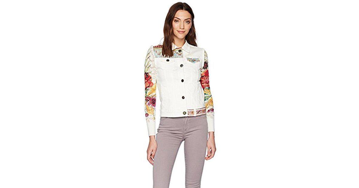 e24f382a1b9e Desigual Coat La For You Denim Jacket in White - Lyst