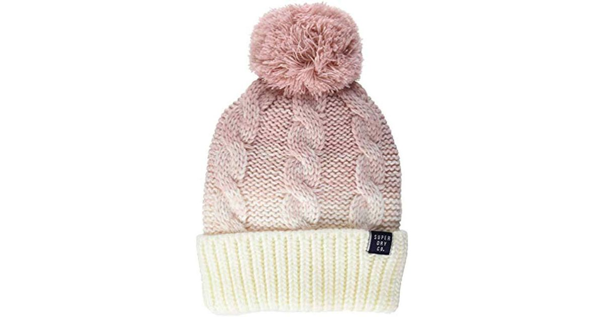517f2d7bdd7 Superdry Clarrie Cable Beanie in Pink - Save 51.61290322580645% - Lyst