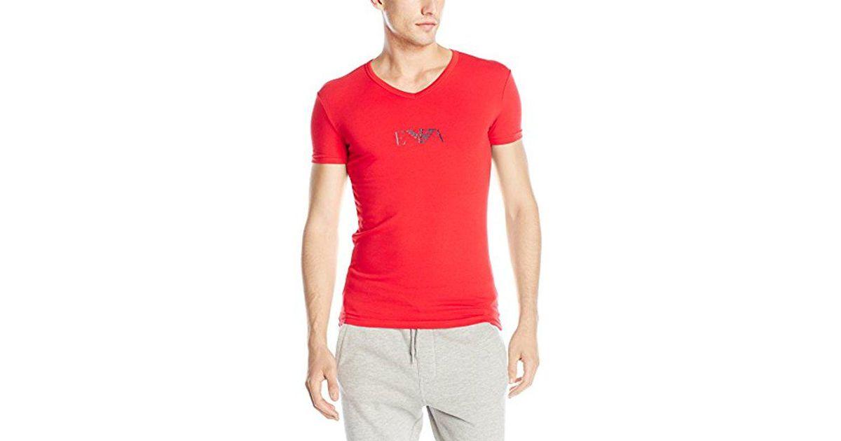944b8b0463dd Lyst - Emporio Armani Stretch Cotton Eagle Logo V-neck T-shirt in Red for  Men