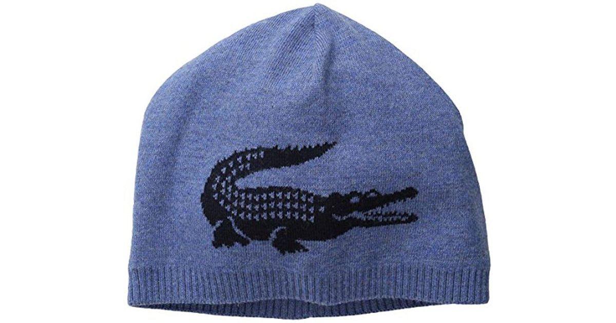 f3867a0835c Lyst - Lacoste Big Crocodile Jacquard Reversible Wool Beanie in Blue for Men