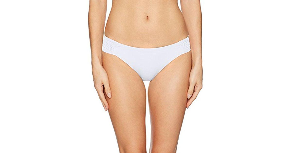 2cb952a4096b3 Lyst - Trina Turk Indo Solids Shirred Side Hipster Bikini Bottom in White