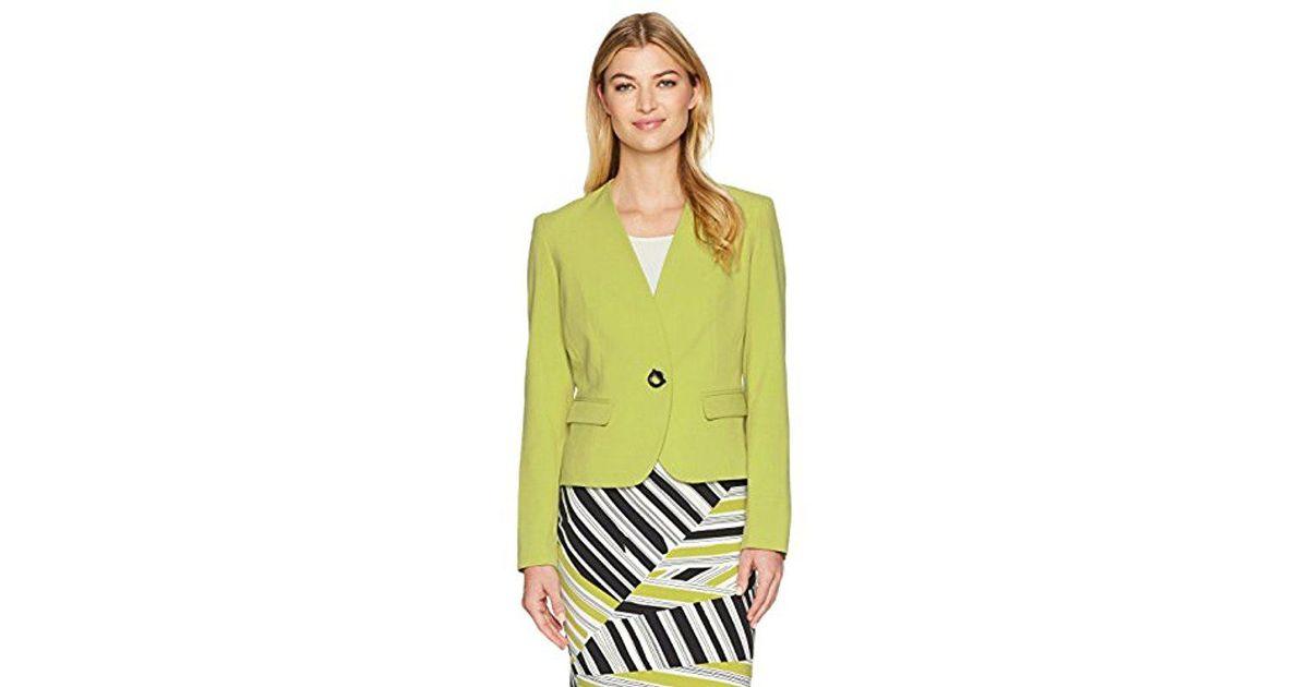 7234074a51e Nine West Bi Stretch 1 Button Jacket in Yellow - Lyst