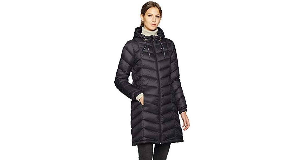 ea88cd7a Tommy Hilfiger Mid Length Packable Down Chevron Quilt Coat in Black - Lyst