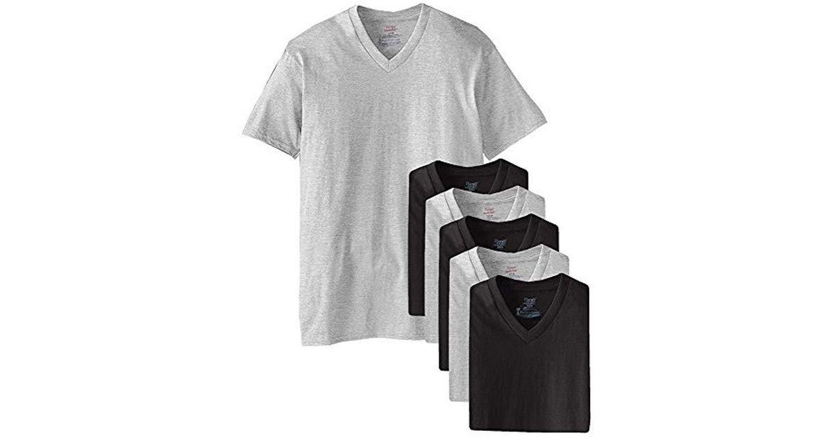 5dc78366d58a Hanes Mens Tagless Comfortsoft V-neck Undershirts, 6-pack in Black for Men  - Lyst