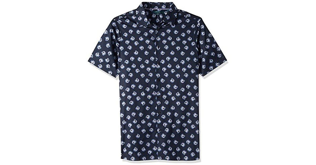 01a4338203 Lyst - Perry Ellis Big And Tall Short Sleeve Cluttered Rose Shirt in Blue  for Men - Save 2%