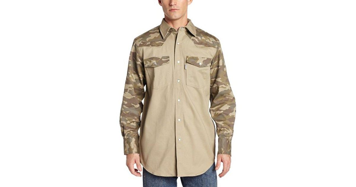 185bcb6a1b Lyst - Carhartt Big   Tall Ironwood Twill Work Shirt Snap Front Relaxed Fit  S209 in Natural for Men
