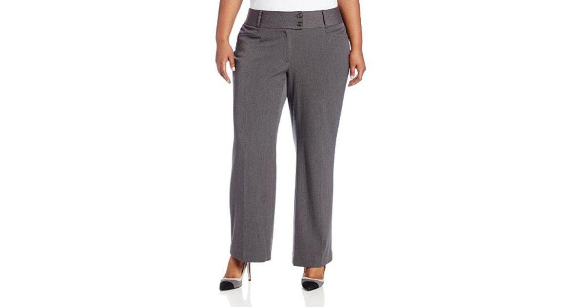 c2f9a7d050b Lyst - Rafaella Plus-size Curvy-fit Gabardine Bootcut Trouser in Gray -  Save 27%