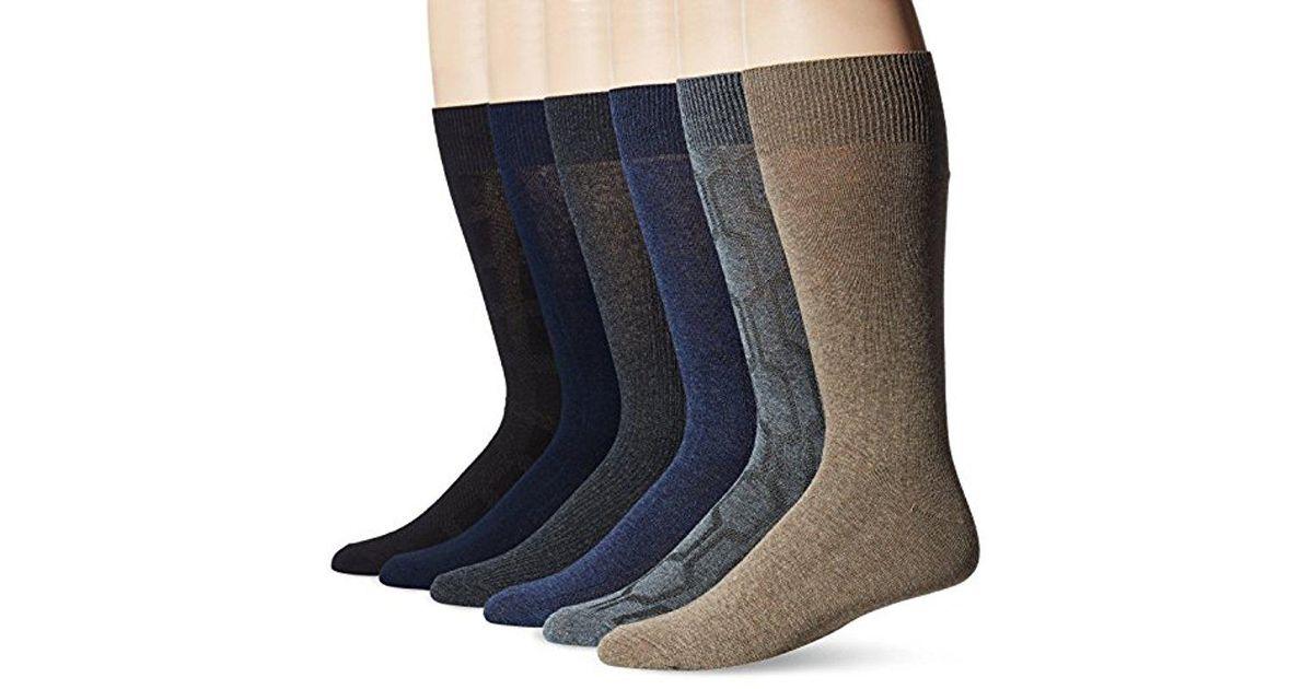 Lyst - Perry Ellis Portfolio Hexagon Rib 6 Pack Casual Dress Socks in Blue  for Men 13fdbdfaa