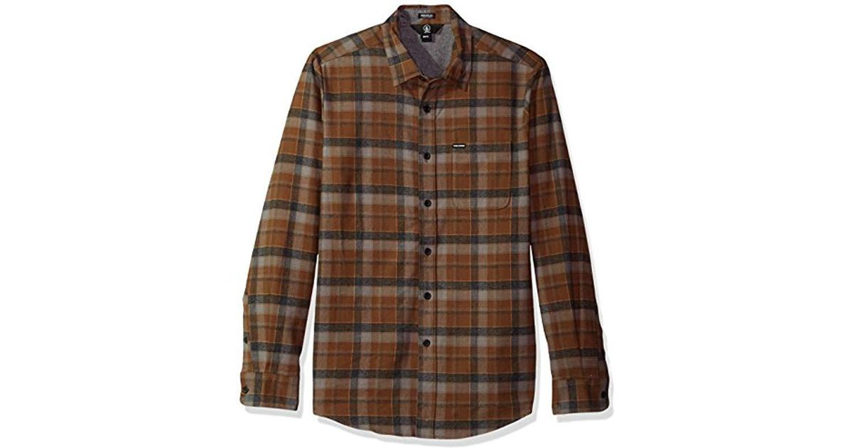 97e3b97b8 Lyst - Volcom Caden Classic Flannel Long Sleeve Shirt in Brown for Men