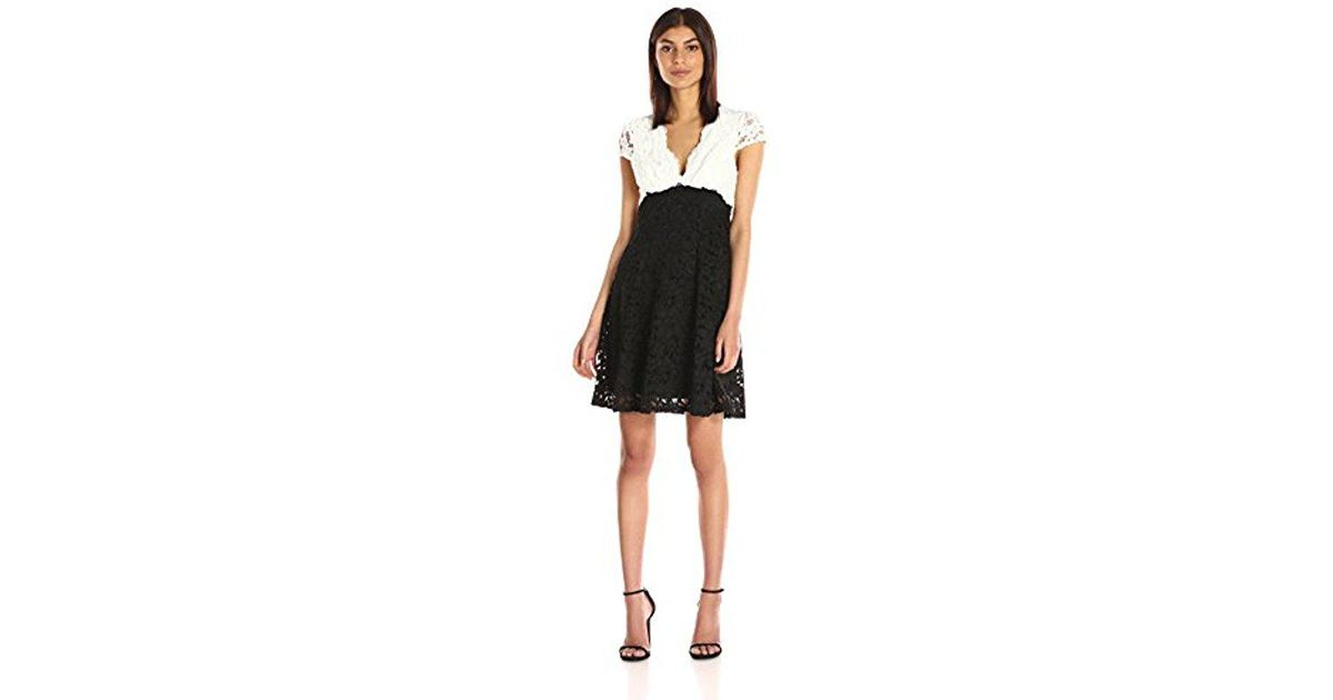 Lyst Betsey Johnson Ivory Black Lace Fit And Flare Dress In Black