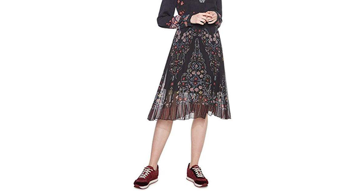 749cc3092d Desigual Fal frida Skirt in Black - Lyst
