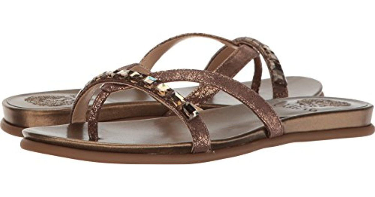 72ef91807360 Lyst - Vince Camuto Eddinal Flat Sandal in Brown
