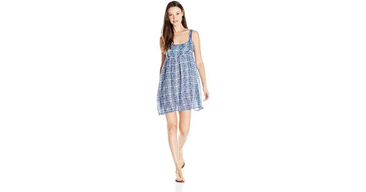 3ff5e43a07ec Lyst - Volcom Juniors Bloom Boom Printed Babydoll Dress in Blue