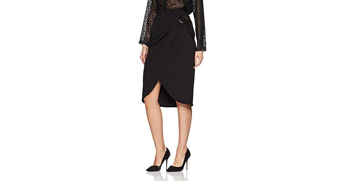 c1152795a2 Dorothy Perkins Eyelet Wrap Midi Skirt in Black - Lyst
